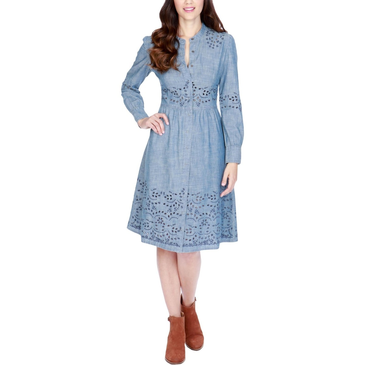 Shop Lucky Brand Womens T Shirt Dress Embroidered Ruched Free