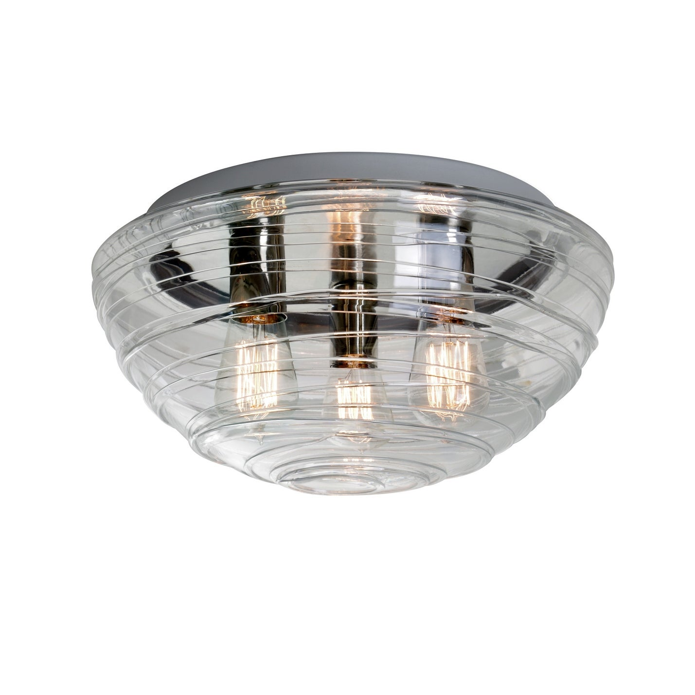Besa Lighting 906361c Edi Wave 3 Light Flush Mount Ceiling Fixture With Clear Shade And Vintage Edison Bulb