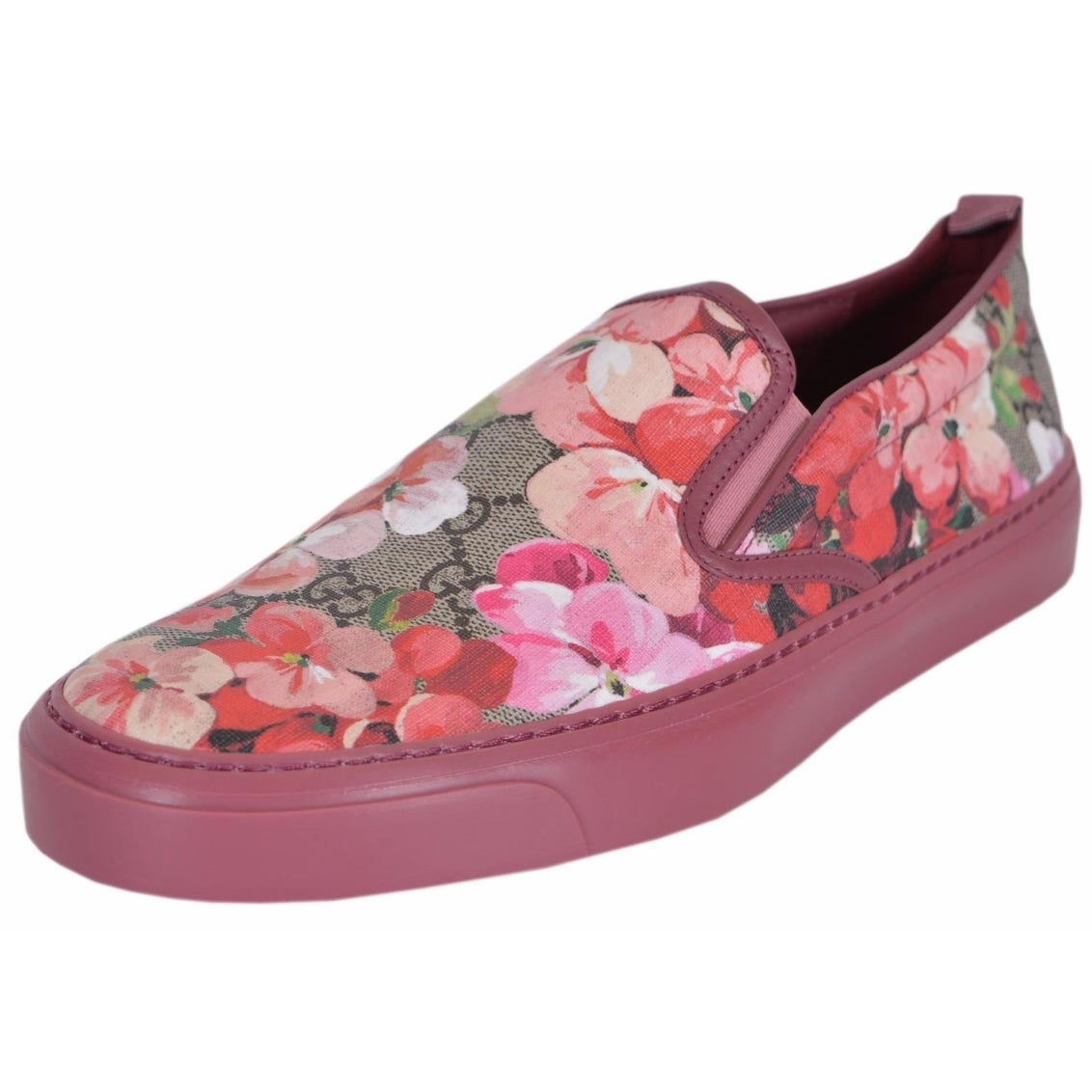 Shop Gucci Women s GG Supreme Canvas Pink Blooms Slip On Sneakers ... a24e55b8c