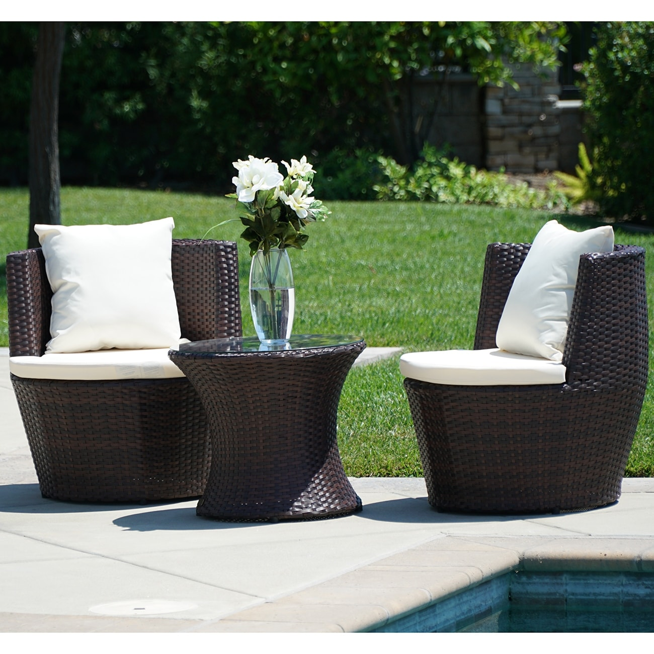 Belleze 3pc patio outdoor rattan patio set wicker furniture outdoor set hour glass table round chairs brown