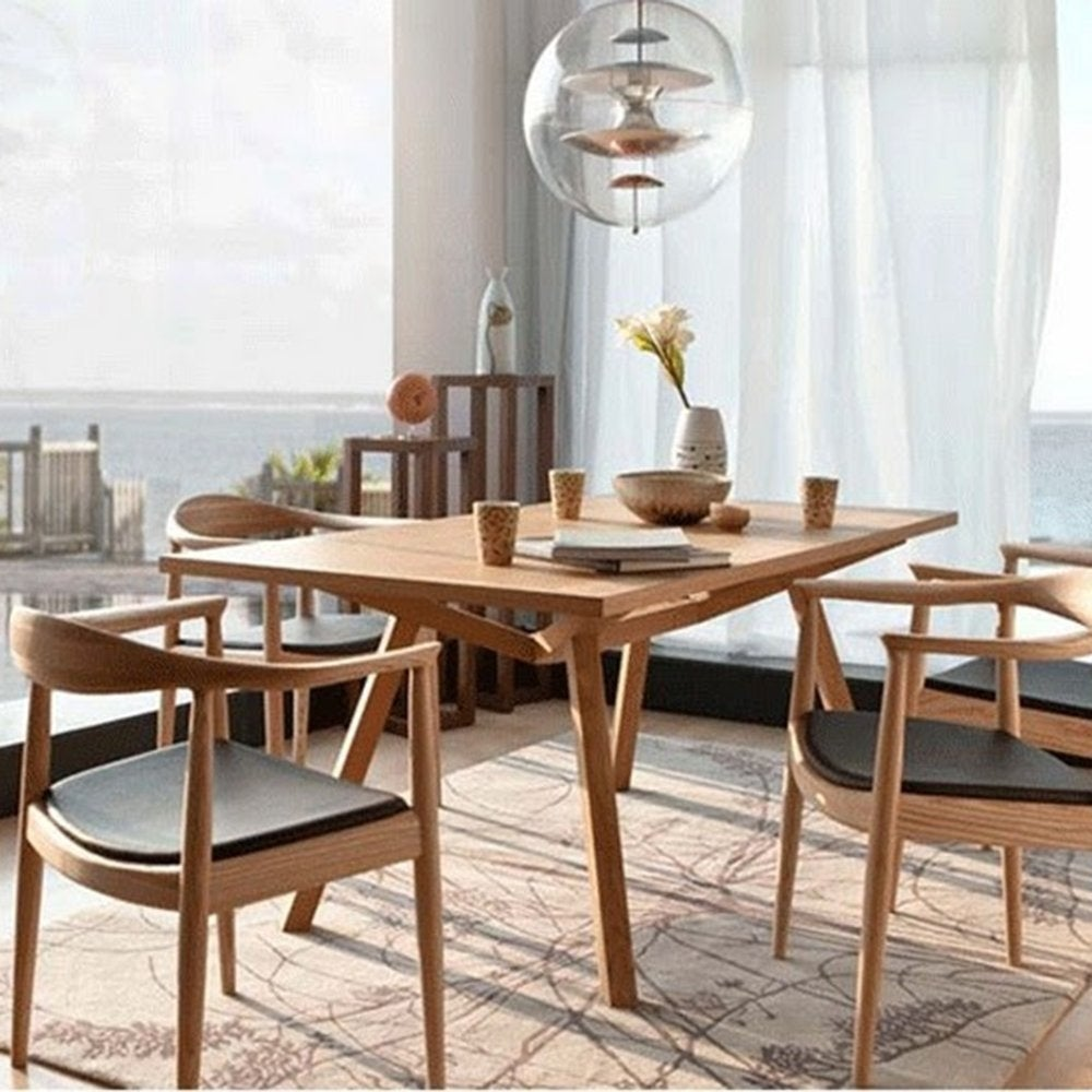 2xhome Natural Solid Real Oak Wood PU Leather Cushion Seat Kennedy Chair  Armchair Dining Chair Hans Wegner Style   Free Shipping Today    Overstock.com   ...