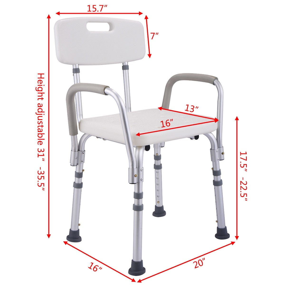 Shop Costway 6 Height Adjustable Medical Shower Chair Stool Bath Tub ...