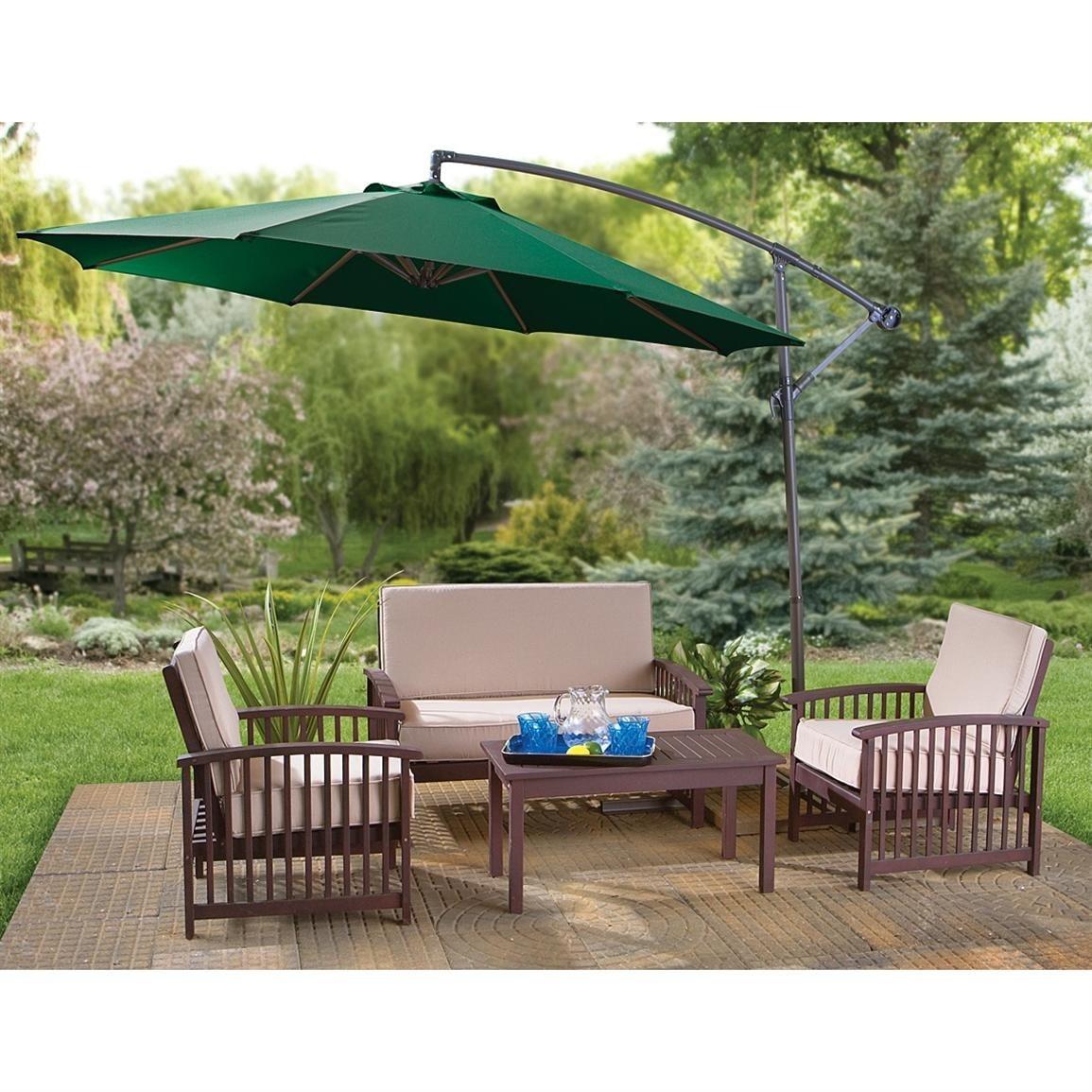 Belleze Patio Umbrella 10u0027 Cantilever Tilt UV Resistant Water Repellant W/  Crank Outdoor, Green   Free Shipping Today   Overstock.com   22363766