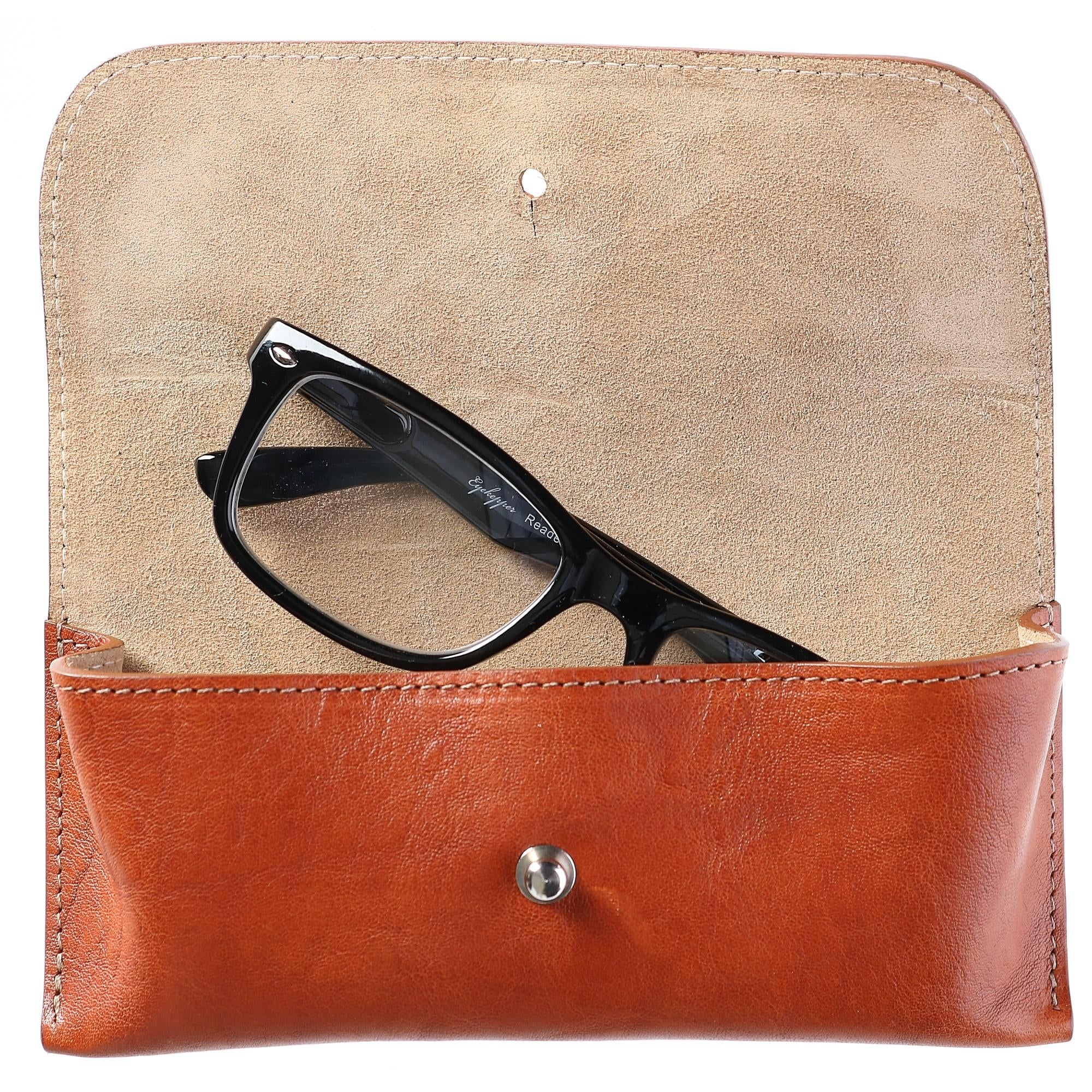 The British Belt Company Italian Leather Glasses Case With Suede