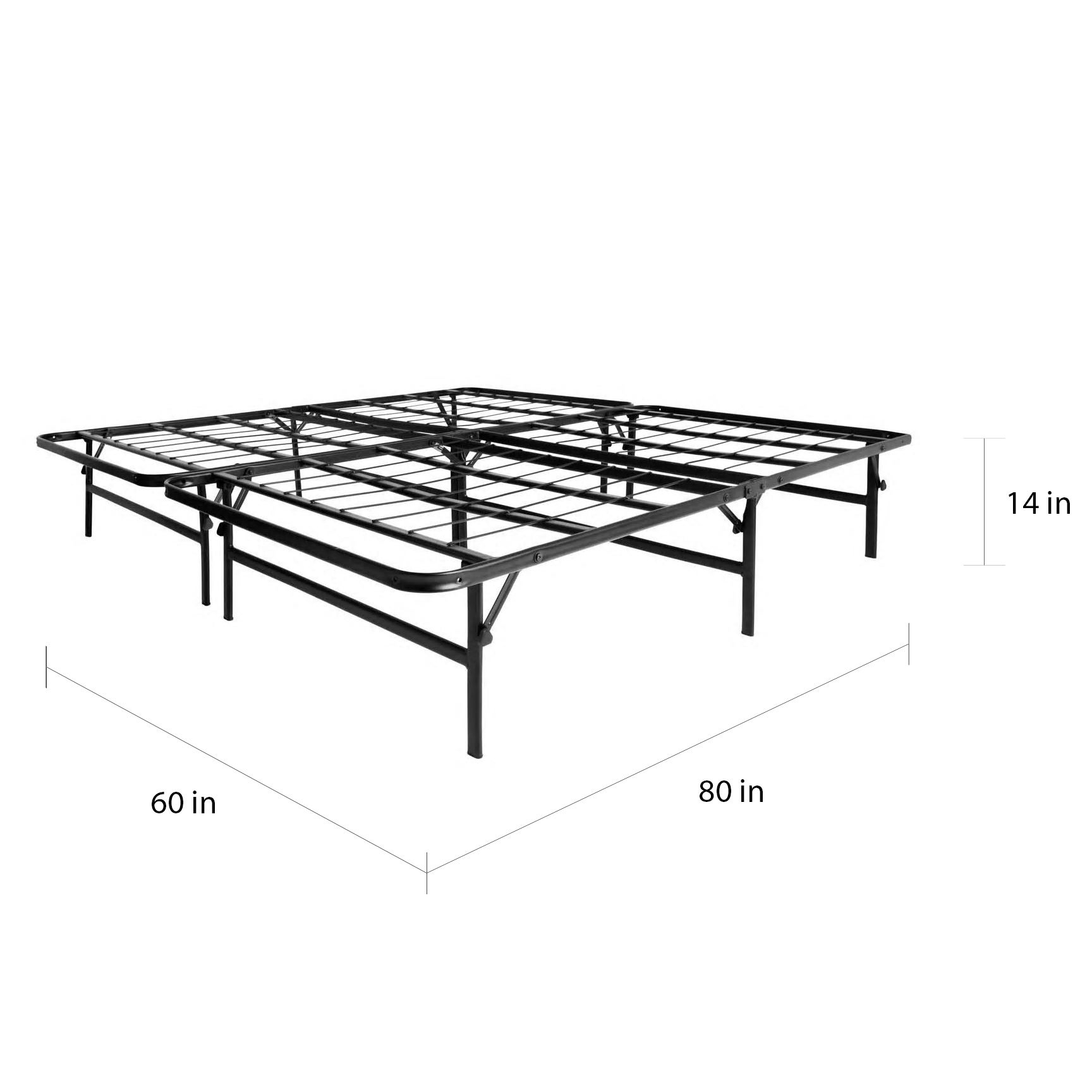Foldable Metal Platform Bed Frame And Mattress Foundation Queen By Lucid Comfort Collection Overstock 10756074