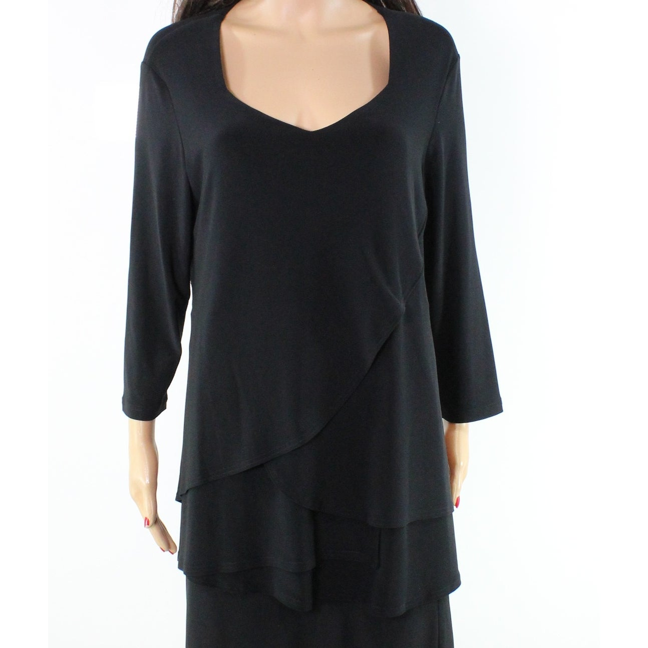 155a3d07853 Shop Sympli NEW Black Layered 3/4 Sleeve Women's Size 14 Top Blouse - Free  Shipping Today - Overstock - 19795949