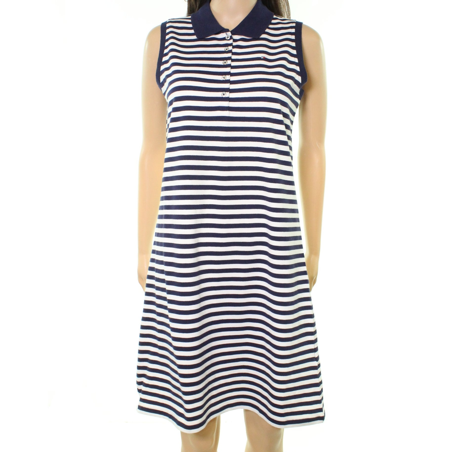 Shop Tommy Hilfiger New Navy Blue Womens Size Xl Striped Polo Shirt