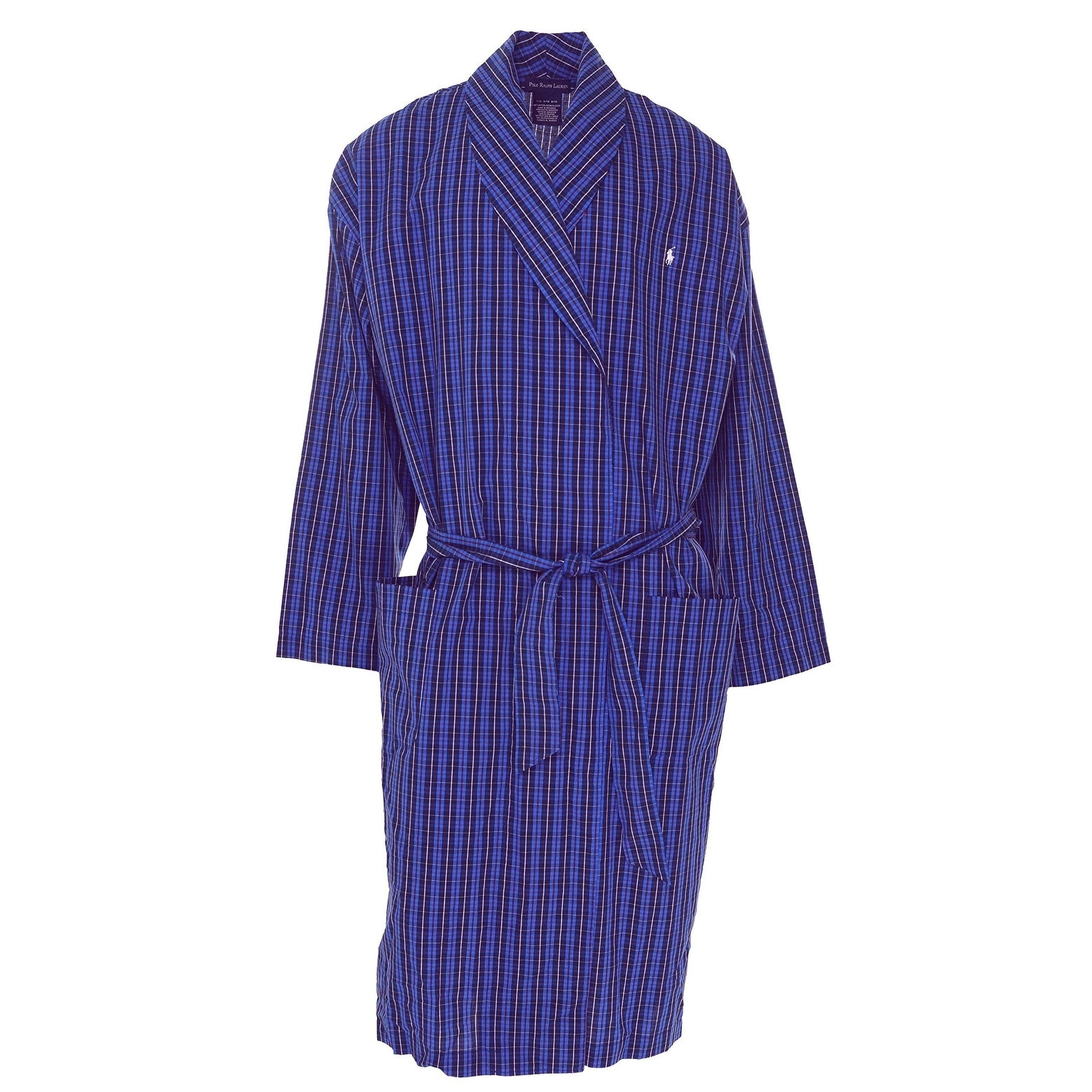 9d15eacd00ea Shop Polo Ralph Lauren NEW Blue Mens Large L / XLPlaid Sleepwear Woven Robe  - Free Shipping On Orders Over $45 - Overstock - 20899559
