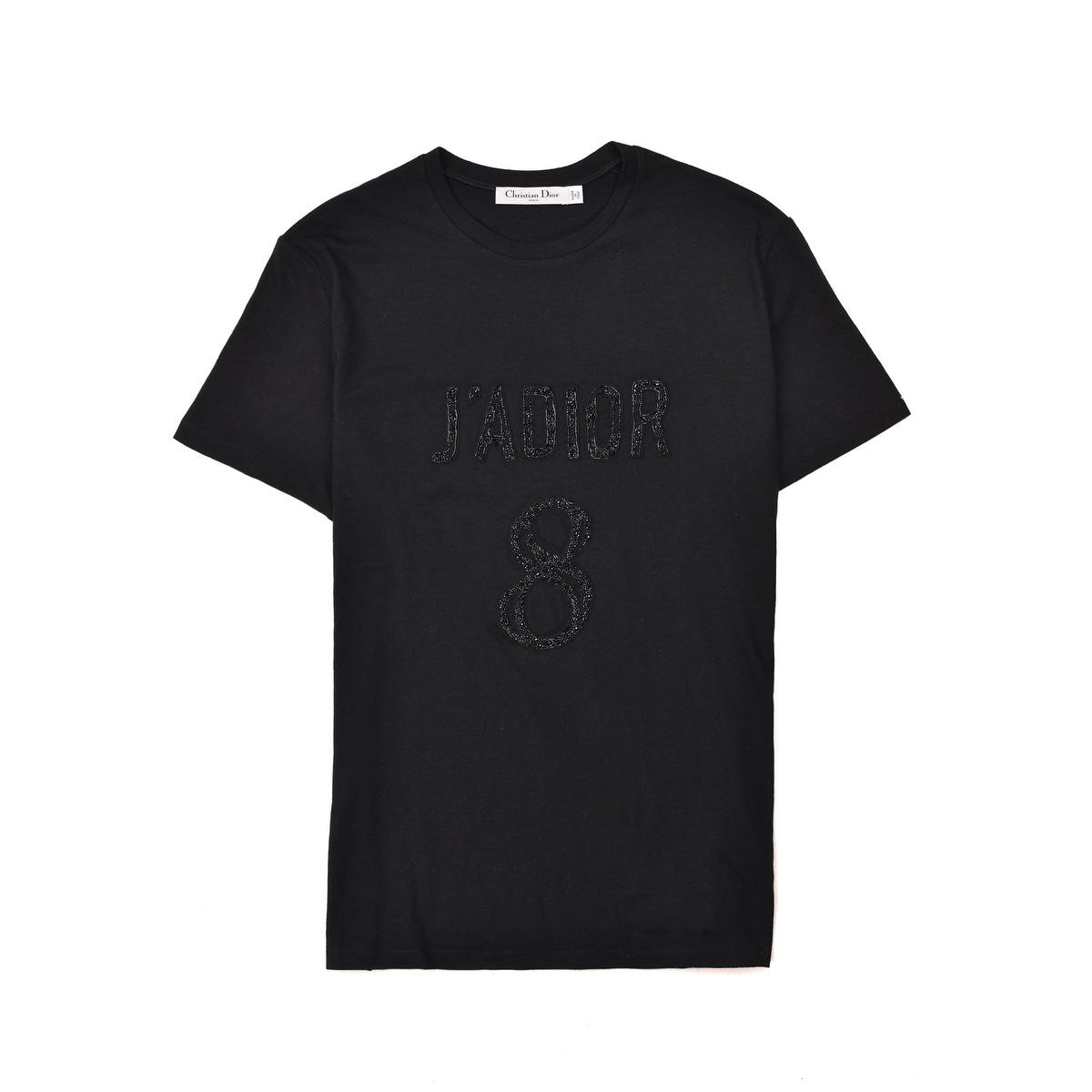 7198361f Shop Dior Womens Black Cotton Blend J'Adior 8 Beaded T Shirt - Free ...