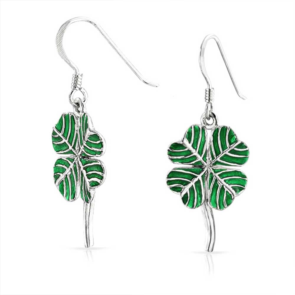 eb79d1f2a Shop Green Enamel Shamrock Irish Lucky Four Leaf Clover 925 Sterling Silver  Dangling Earrings For Women - On Sale - Free Shipping On Orders Over $45 ...
