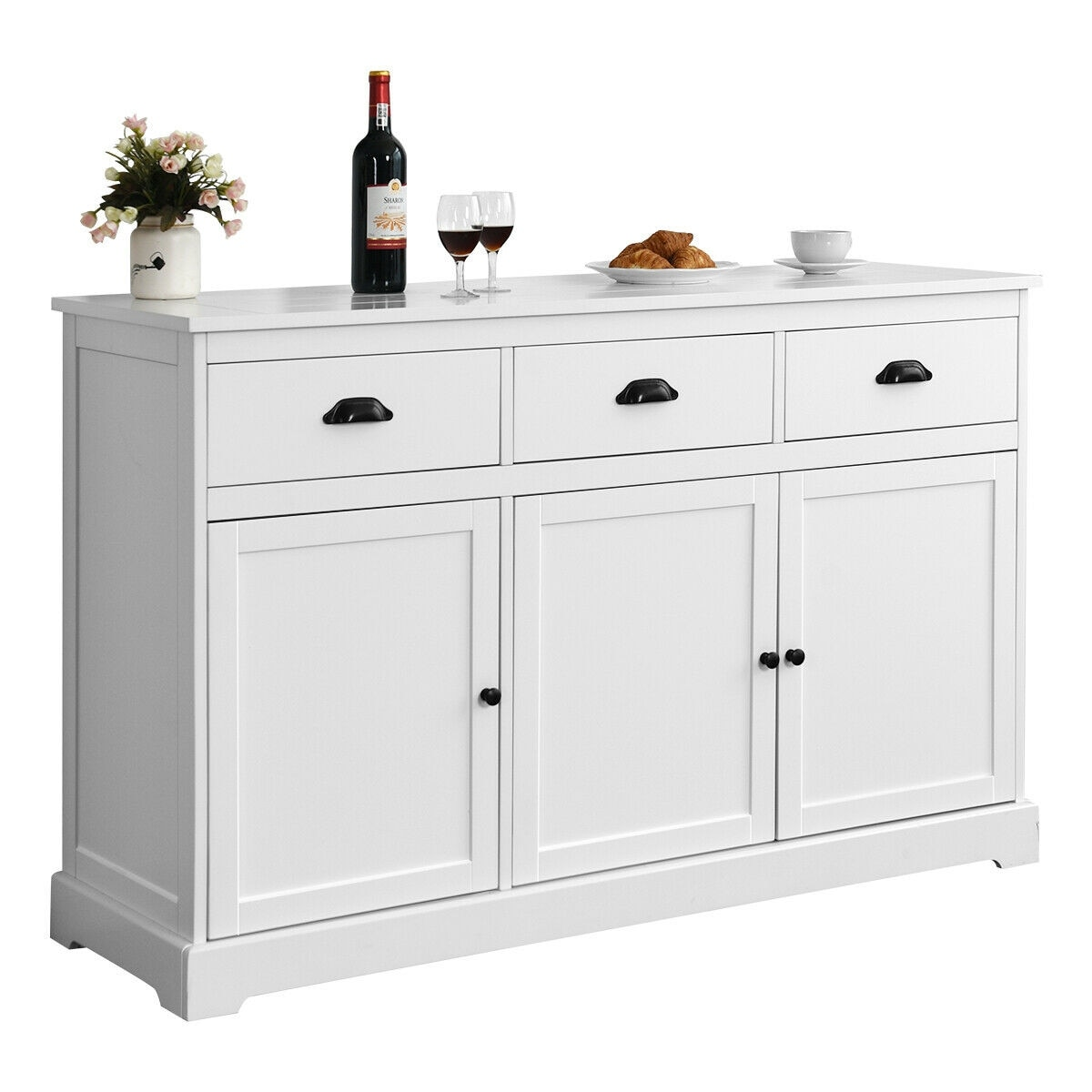 Gymax 3 Drawers Sideboard Buffet Cabinet Console Table Kitchen Storage Cupboard White
