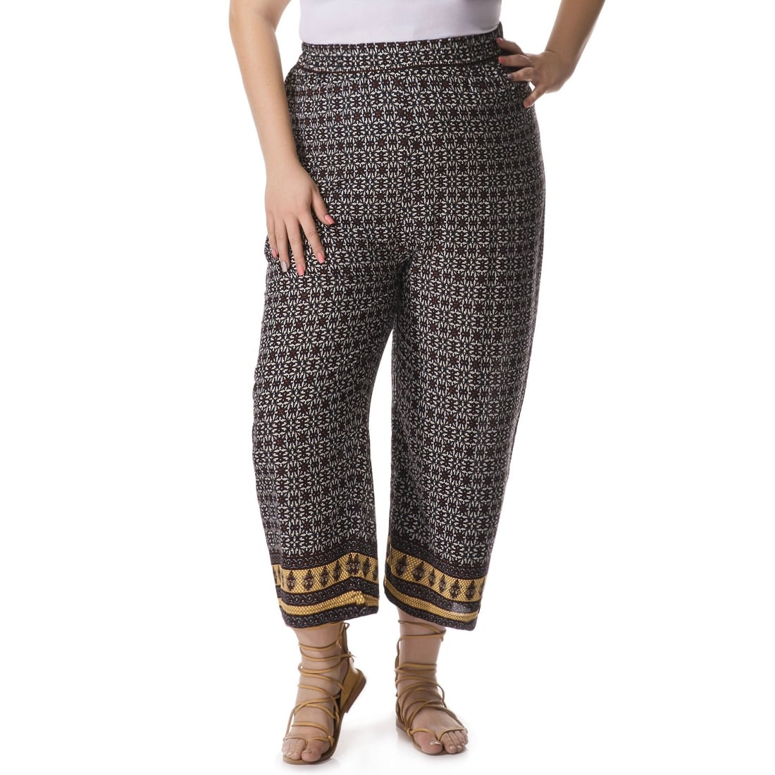 9d4d1a6b44384 Shop Allegra K Women s Plus Size Ethnic Pattern Boho Palazzo Pants - Blue -  Free Shipping On Orders Over  45 - Overstock - 20834799
