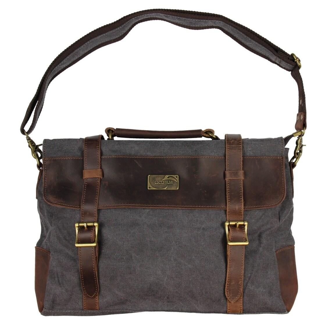 dbd825165 Gootium Canvas Leather Messenger Bag Vintage Shoulder Bag 14-Inch Laptop  Briefcase, Grey