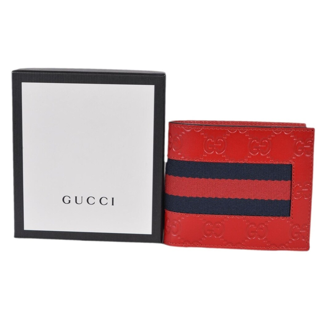 449ce16201f4 Shop Gucci Men's 408826 Red Leather GG Guccissima Web Stripe Bifold Wallet  - Free Shipping Today - Overstock - 23551480