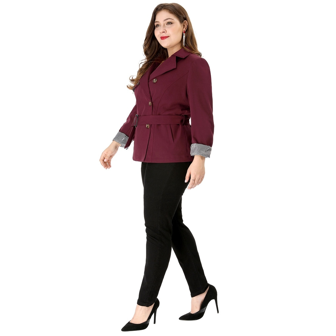 cd073aef82a Shop Women s Plus Size Lapel Blazer Double-Breasted Belted Trench Coat -  Red - Free Shipping On Orders Over  45 - Overstock - 25768932