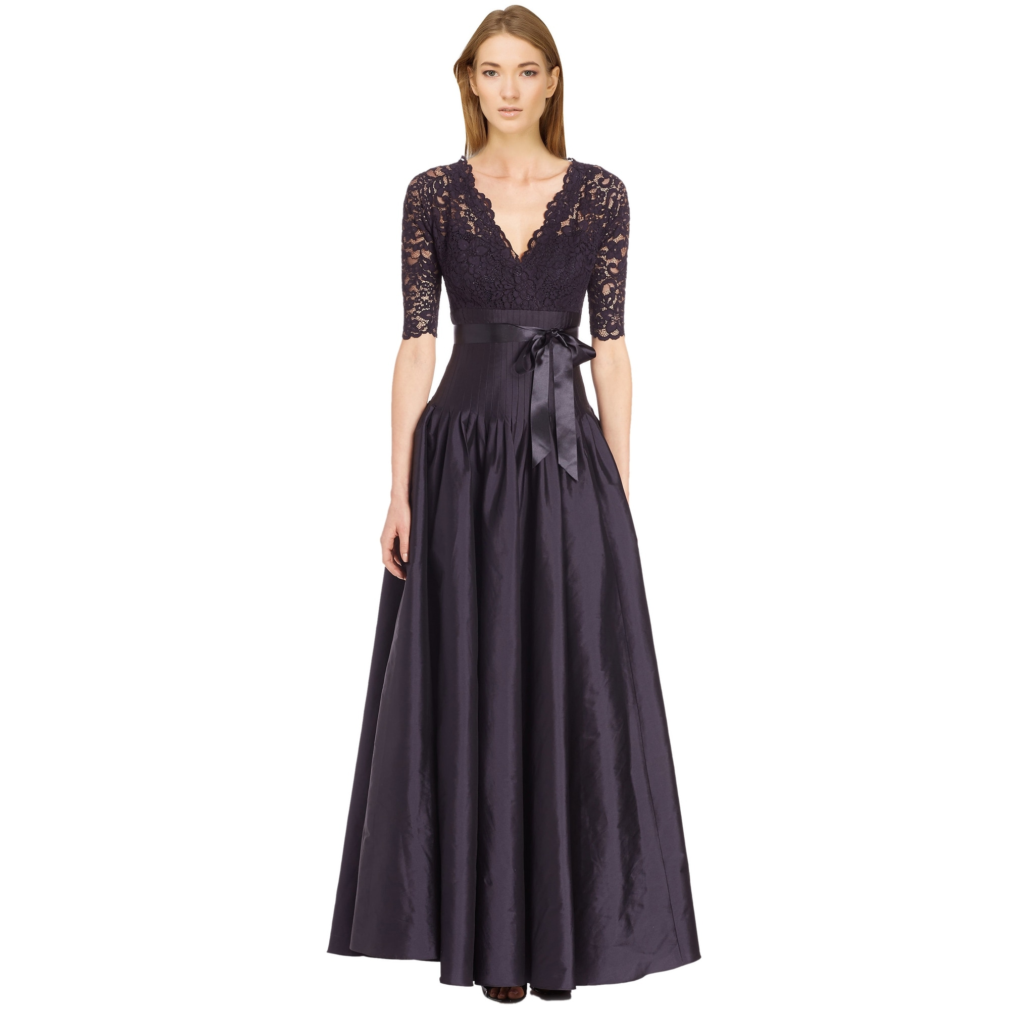 e13db2ef473b2 Shop Teri Jon Navy Lace   Taffeta V-Neck Pleated Ball Gown Dress - 6 ...