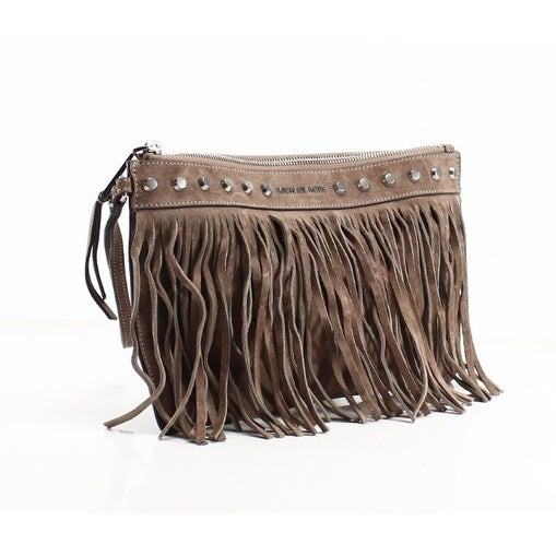 a25f7da4123cdc ... reduced shop michael kors new gray suede billy extra large zip clutch fringe  purse free shipping