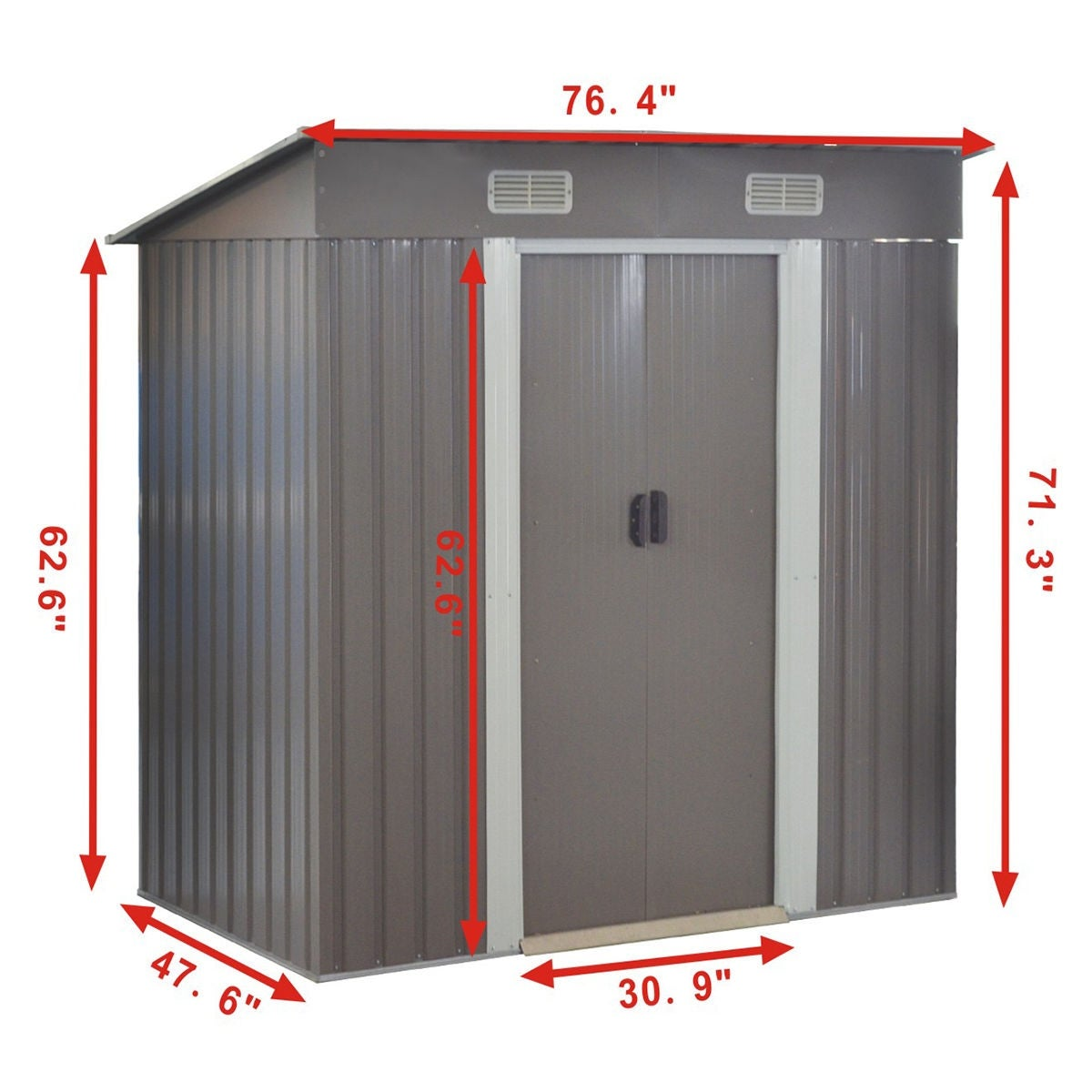 Costway 4x6ft Outdoor Garden Storage Shed Tool House Sliding Door Galvanized Steel Gray Free Shipping Today 16419830