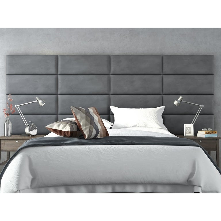 Shop Vant Upholstered Wall Panels (Headboards) Sets of 4 - Micro Suede Gray - 30 Inch - Full-Queen. - Free Shipping Today - Overstock.com - 12246088