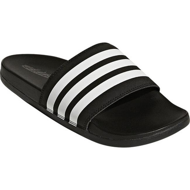 nouveaux styles 9e515 34c9a adidas Women's Adilette Cloudfoam Plus Stripes Slide Sandal Core Black/FTWR  White/Core Black