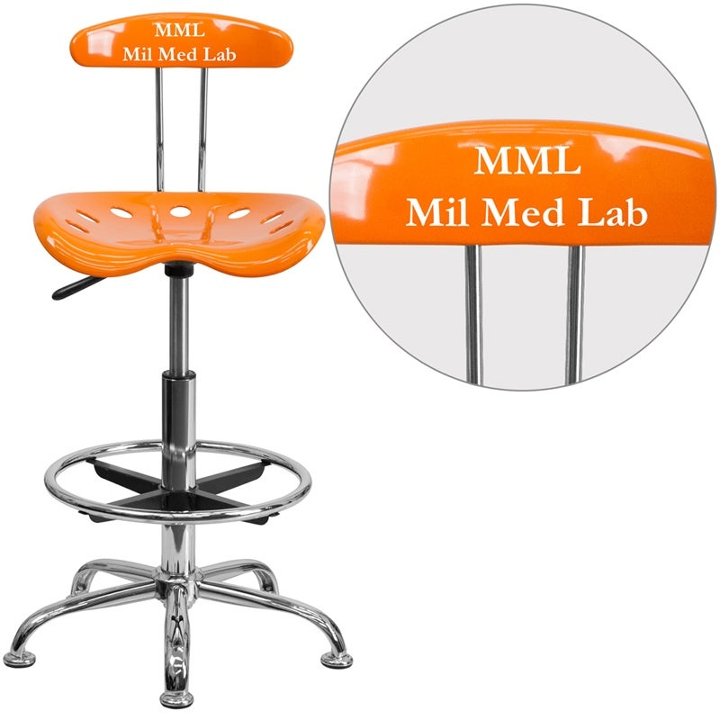 Shop Brittany Personalized Orange Professional Drafting Stool W/Tractor  Seat   Free Shipping Today   Overstock.com   16628023