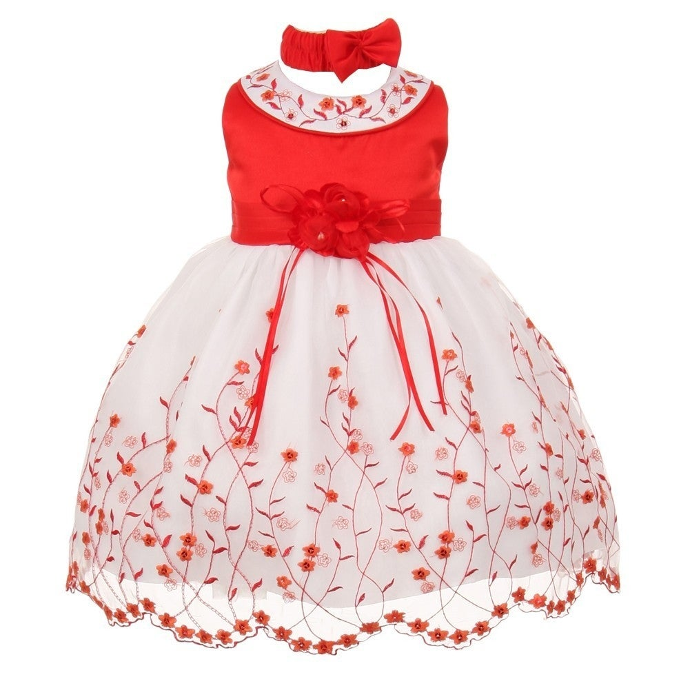 Shop Baby Girls Red White Floral Jeweled Easter Flower Girl Bubble