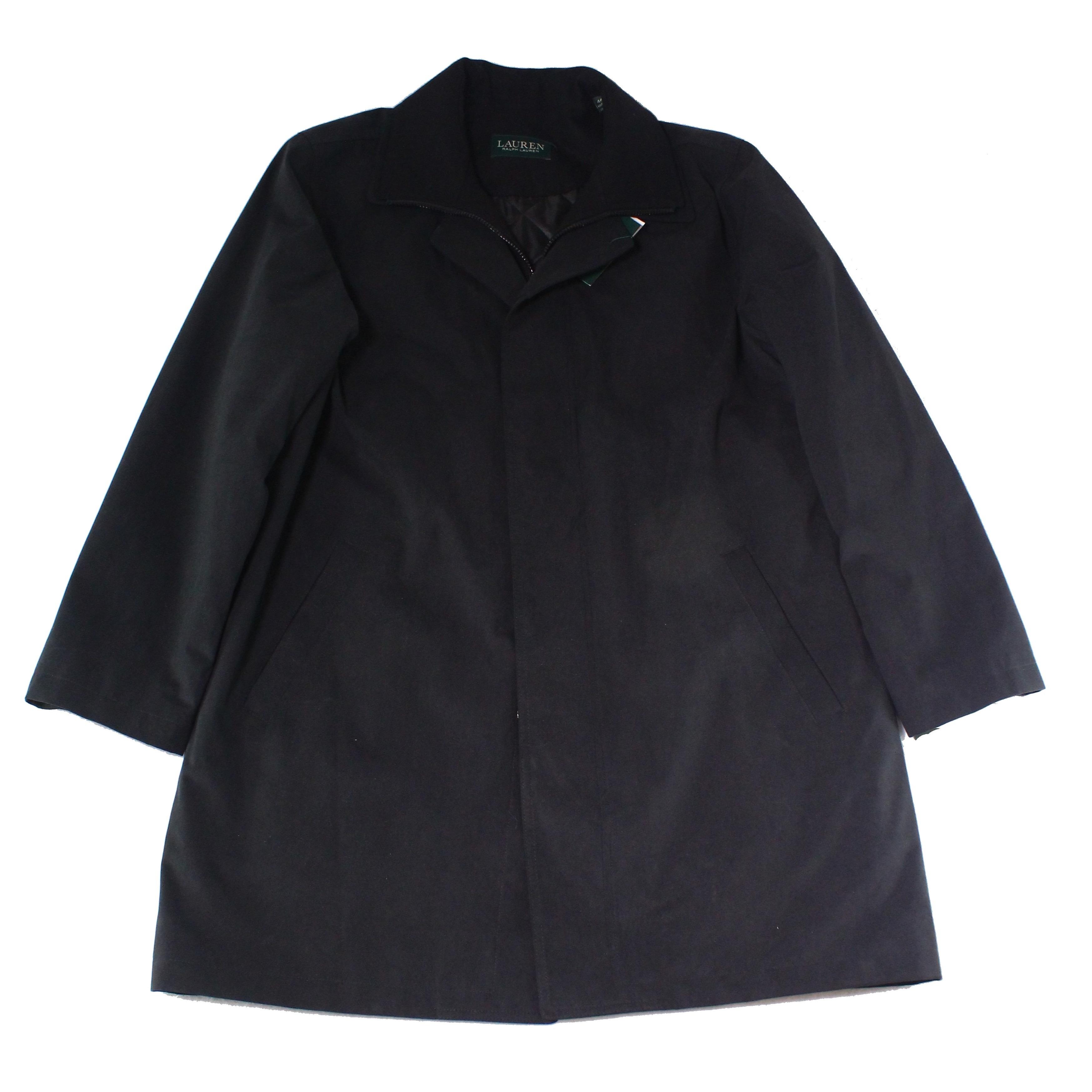 aff28243 Lauren By Ralph Lauren Black Mens Size 38R Solid Trench Coat