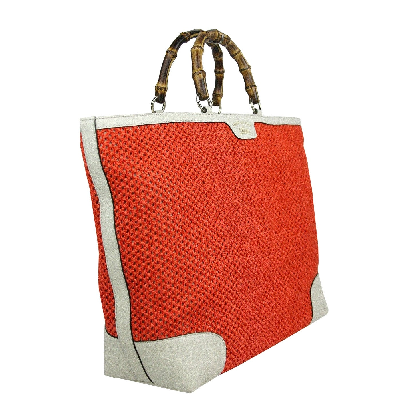2a1ff593fa2e55 Shop Gucci Bamboo Orange Straw Leather Large Top Handle Tote Bag 338964  6273 - Free Shipping Today - Overstock - 27603215