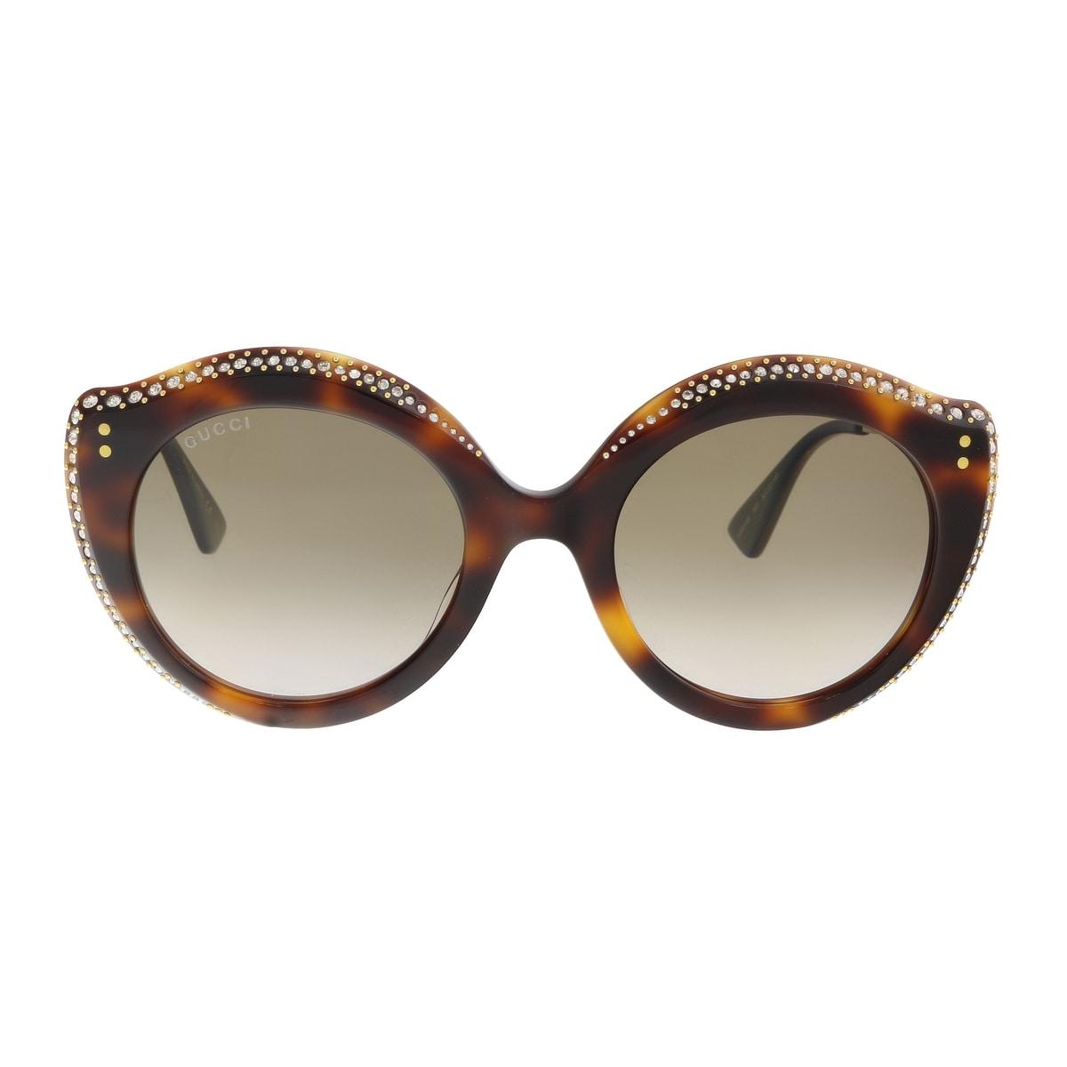 3c72f1ba42 Shop Gucci GG0214S-003 Havana Cat Eye Sunglasses - 52-22-145 - Free  Shipping Today - Overstock - 19490360