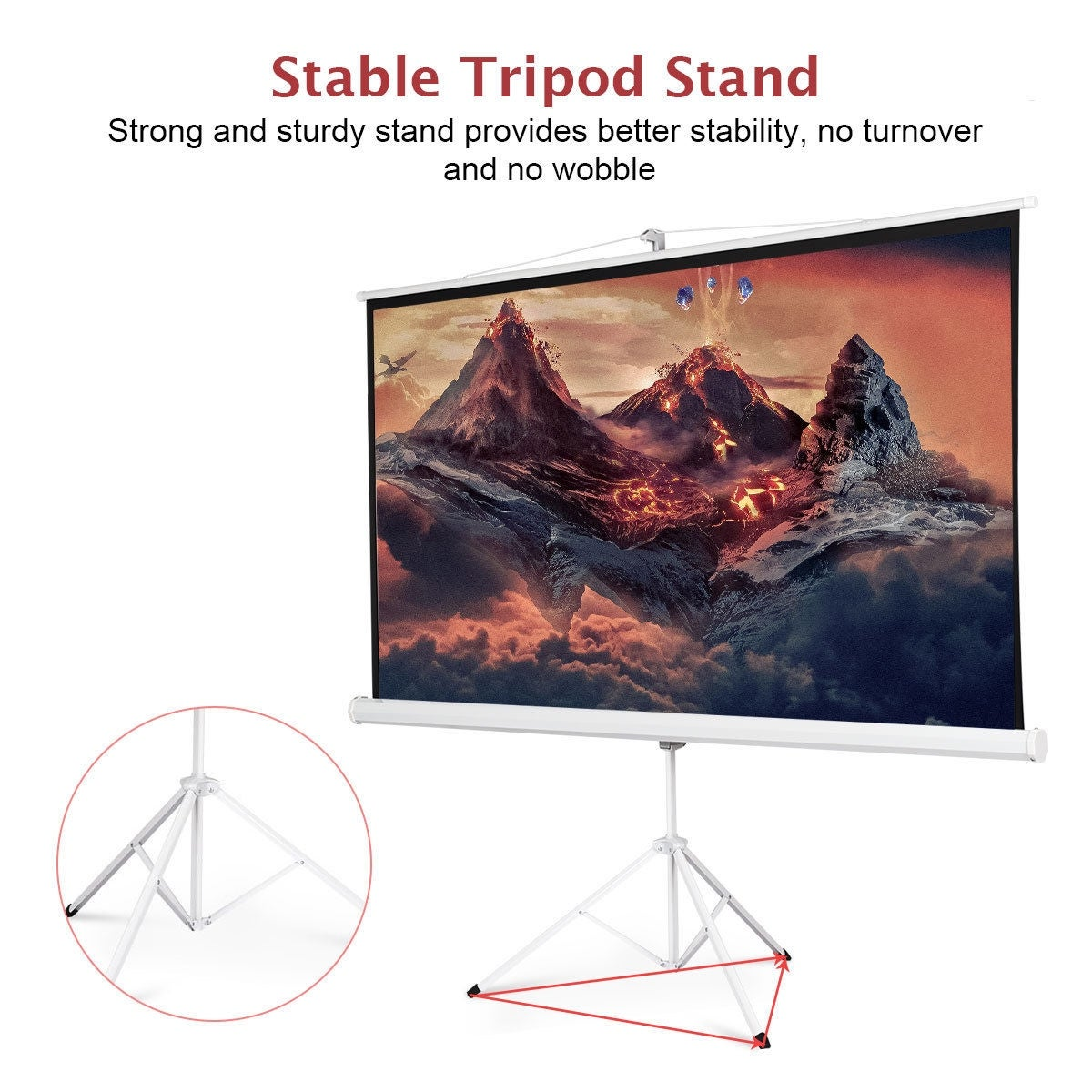 9 Manual Projection Screen Pull Down Tripod Projector Matte White ...