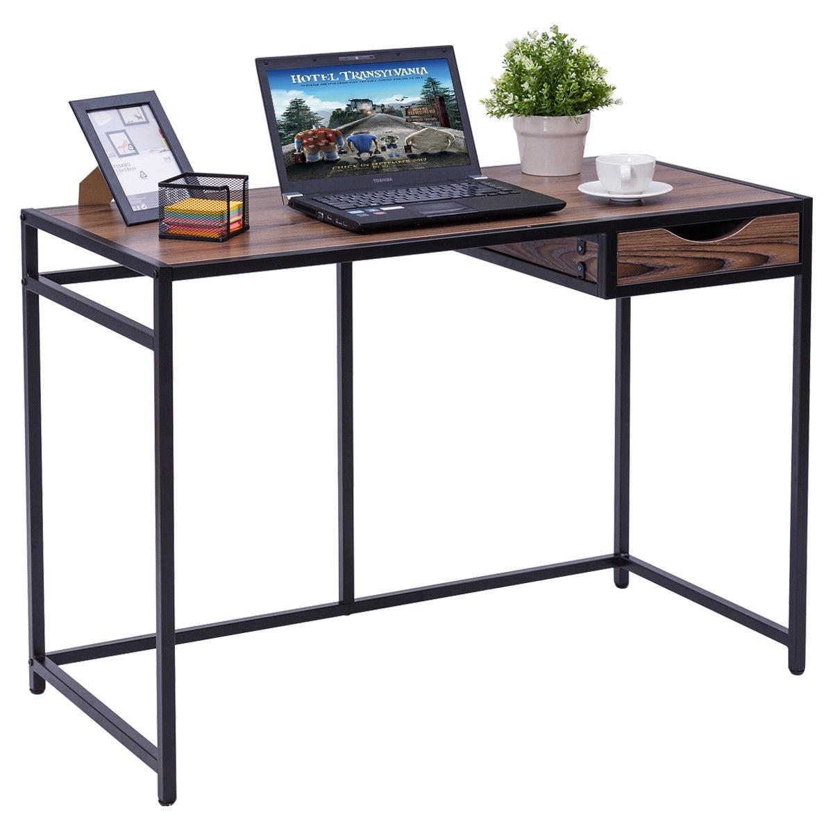 Shop Costway Computer Desk PC Laptop Table Wood Top Metal Frame ...