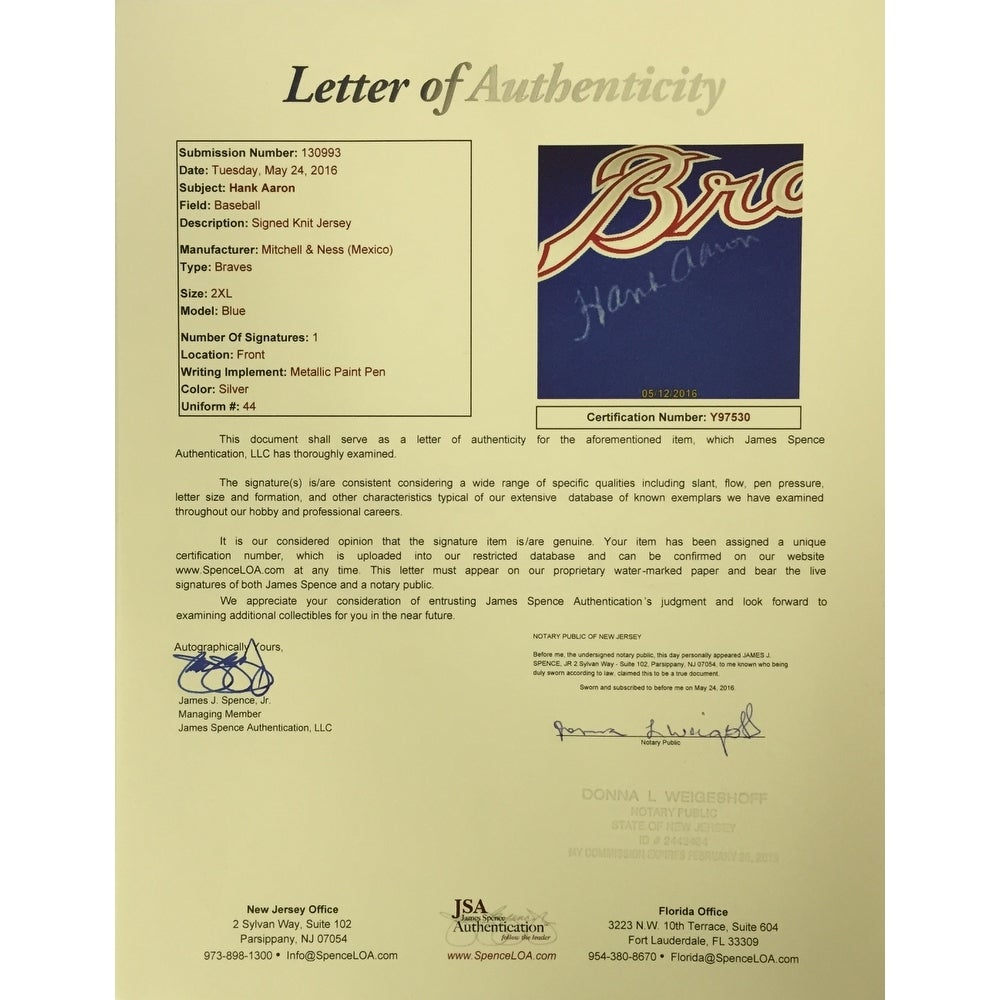 0e8520f81 Shop Hank Aaron Signed Braves Blue Mitchell and Ness Cooperstown Jersey JSA  Full Letter - Free Shipping Today - Overstock - 14552633