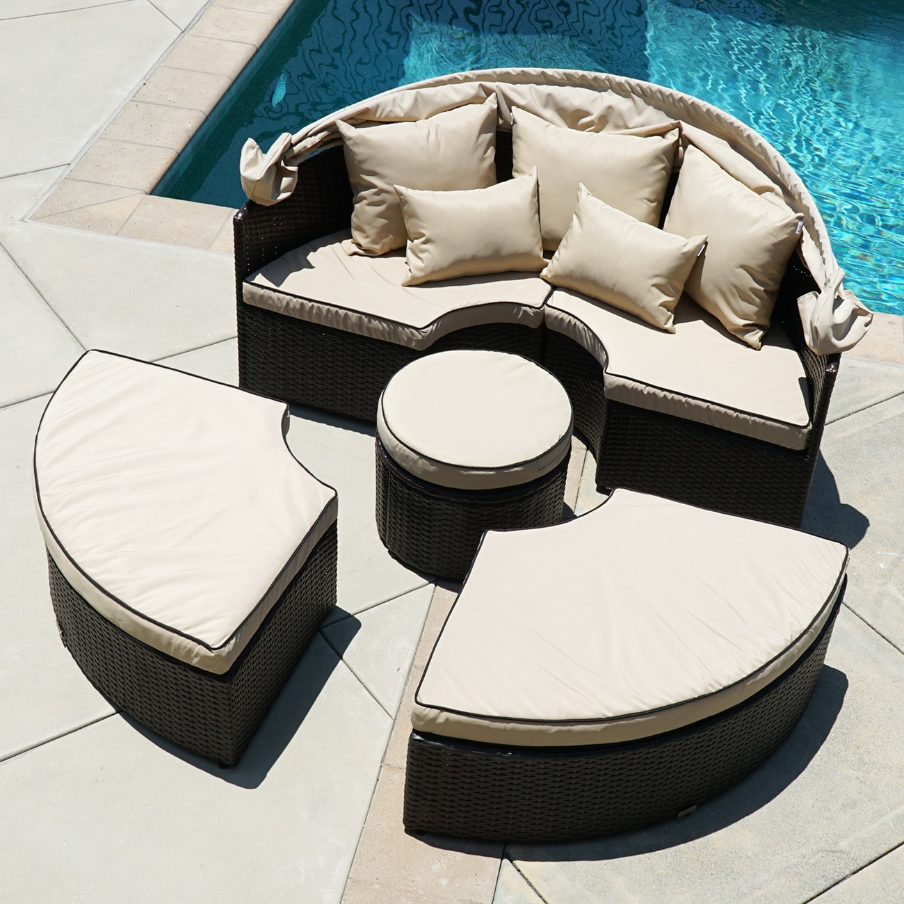 Belleze 5 Piece Outdoor Daybed Sectional Set Round Retractable Canopy  Rattan Wicker Furniture Sofa W/ Cushion   Free Shipping Today    Overstock.com   ...
