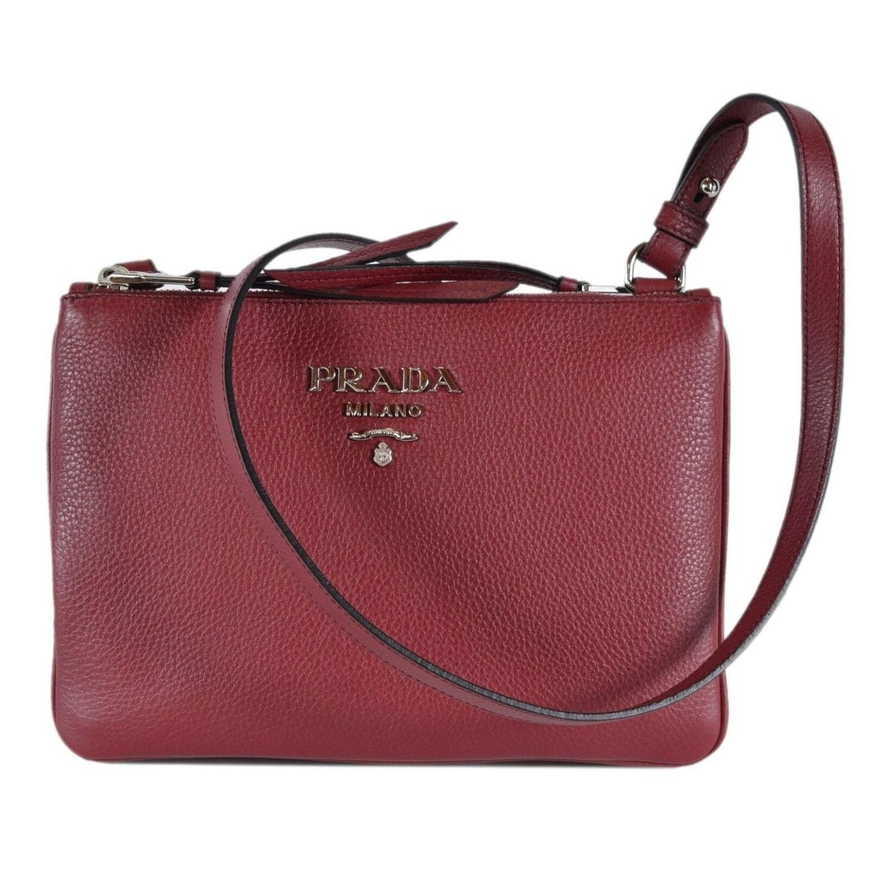 11784dcdbdc8 Shop Prada 1BH046 Cerise Vitello Leather Bandoliera Double Zip Crossbody Bag  - Red - Free Shipping Today - Overstock - 27422784