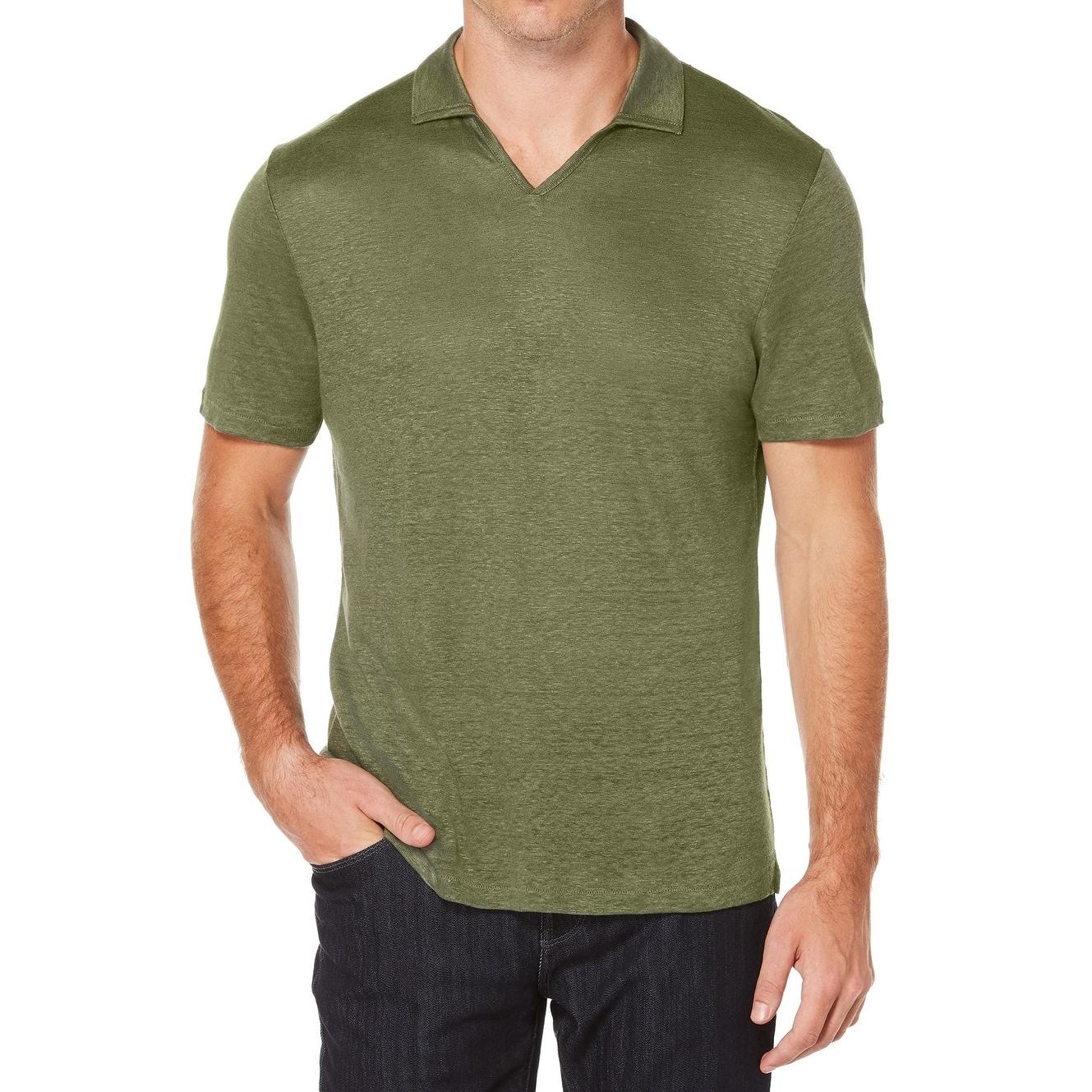 Perry Ellis New Thyme Green Mens Size Xl Open Collar Linen Polo
