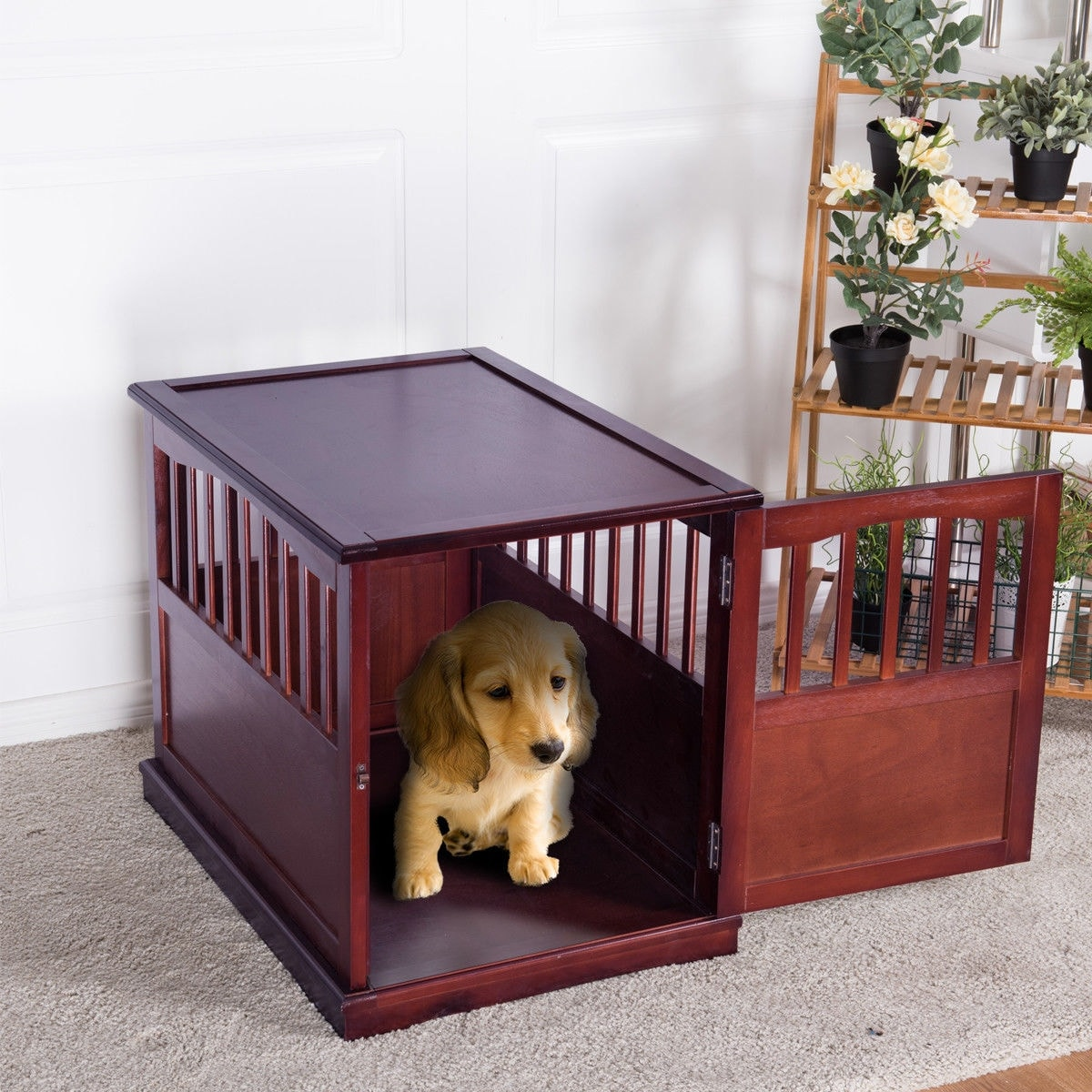 Gymax 24u0027u0027 Wood Pet Crate End Table Cat Dog Kennel Cage W/ Lockable Door  Furniture   Free Shipping Today   Overstock   26542356