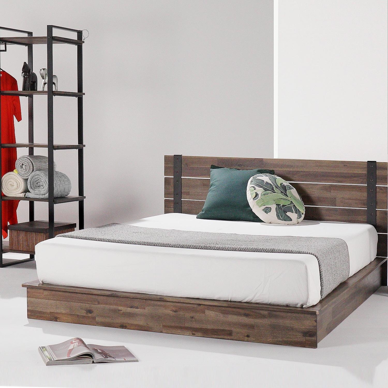 Priage By Zinus Brown Metal And Wood Platform Bed Frame On Sale Overstock 30945906