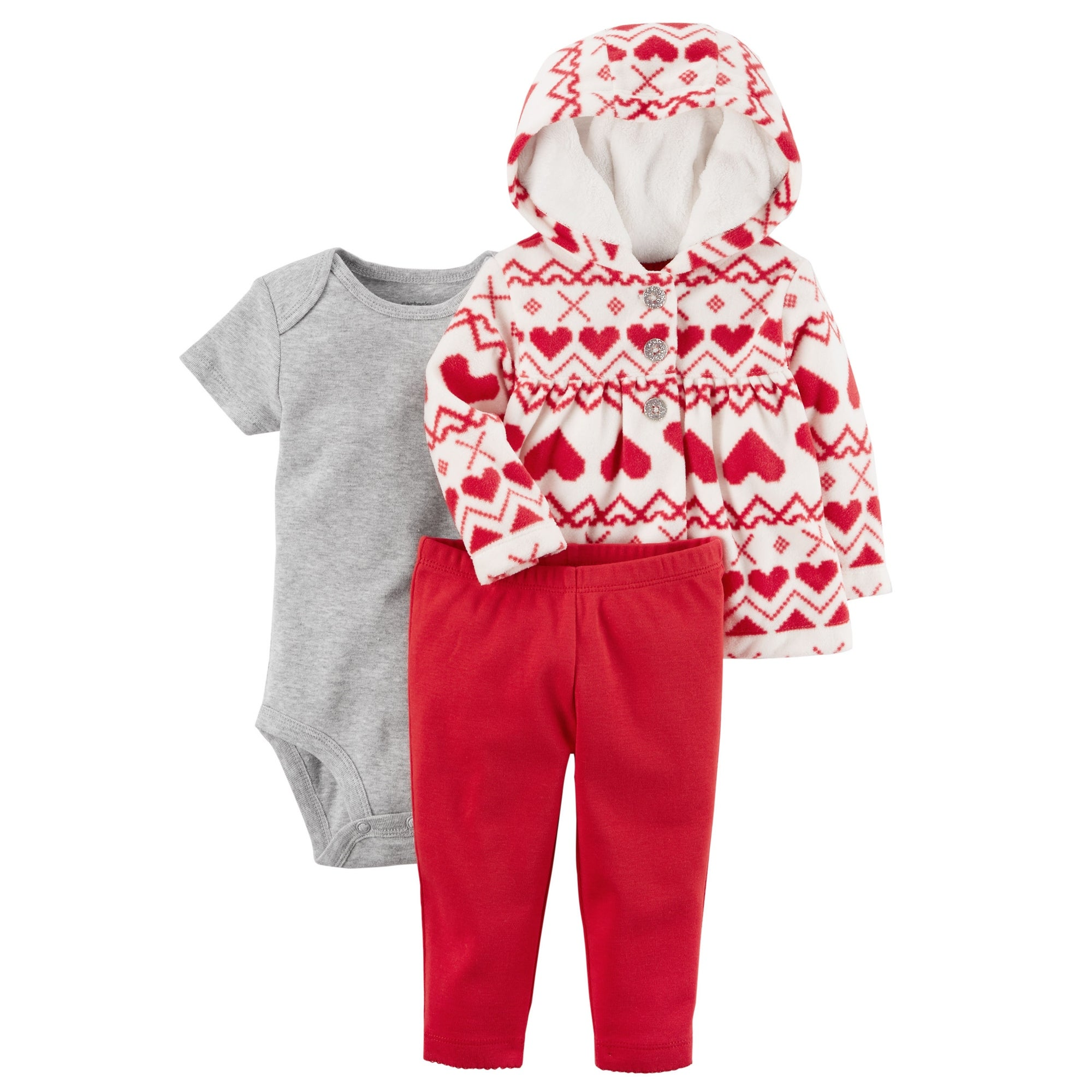 29b9067be Shop Carter's Baby Girls' 3 Piece Heart Print Little Jacket Set, 3 Months -  3 Months - Free Shipping On Orders Over $45 - Overstock - 19470203