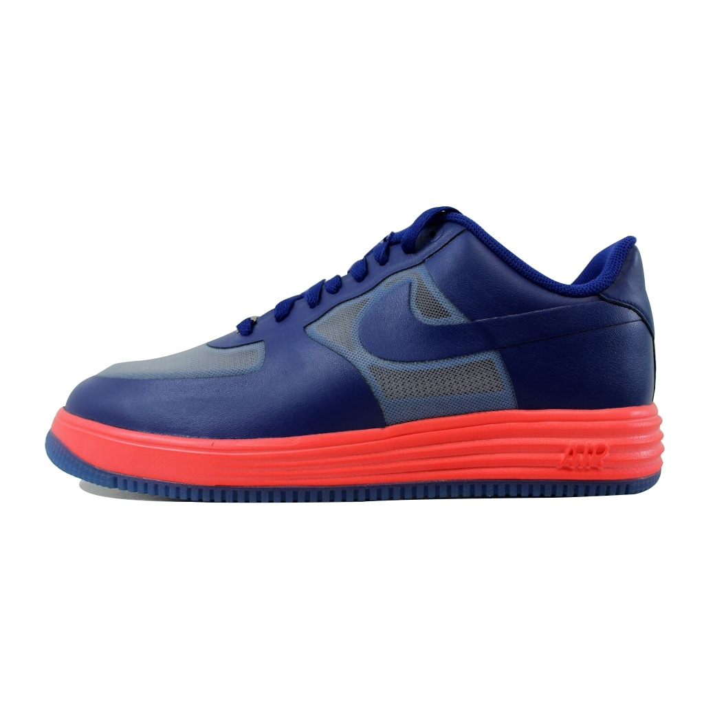 detailed pictures d4d80 79d92 Shop Nike Lunar Force 1 Fuse Leather Wolf Grey Deep Royal Blue-Atomic Red  599839-001 Men s - Free Shipping Today - Overstock - 21141851