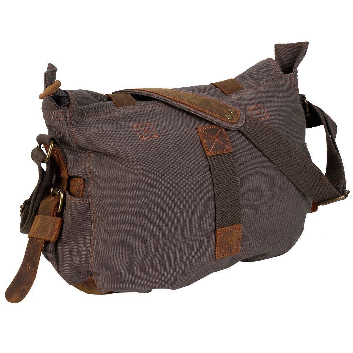 Costway Men S Vintage Canvas Leather School Military Shoulder Messenger Bag Army Green Free Shipping On Orders Over 45 24631633