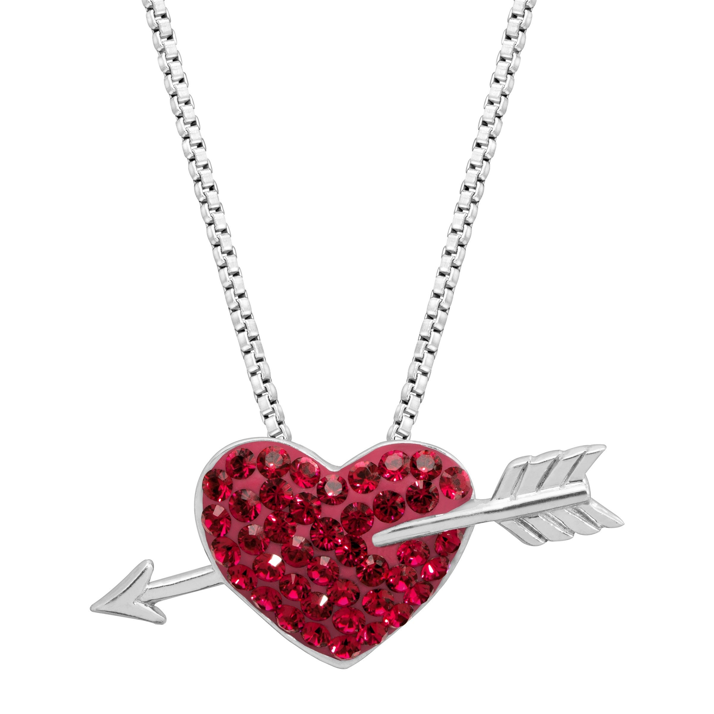 d444f727b Shop Crystaluxe Heart & Arrow Pendant with Swarovski Crystals in  Rhodium-Dipped Sterling Silver - Red - On Sale - Free Shipping On Orders  Over $45 ...