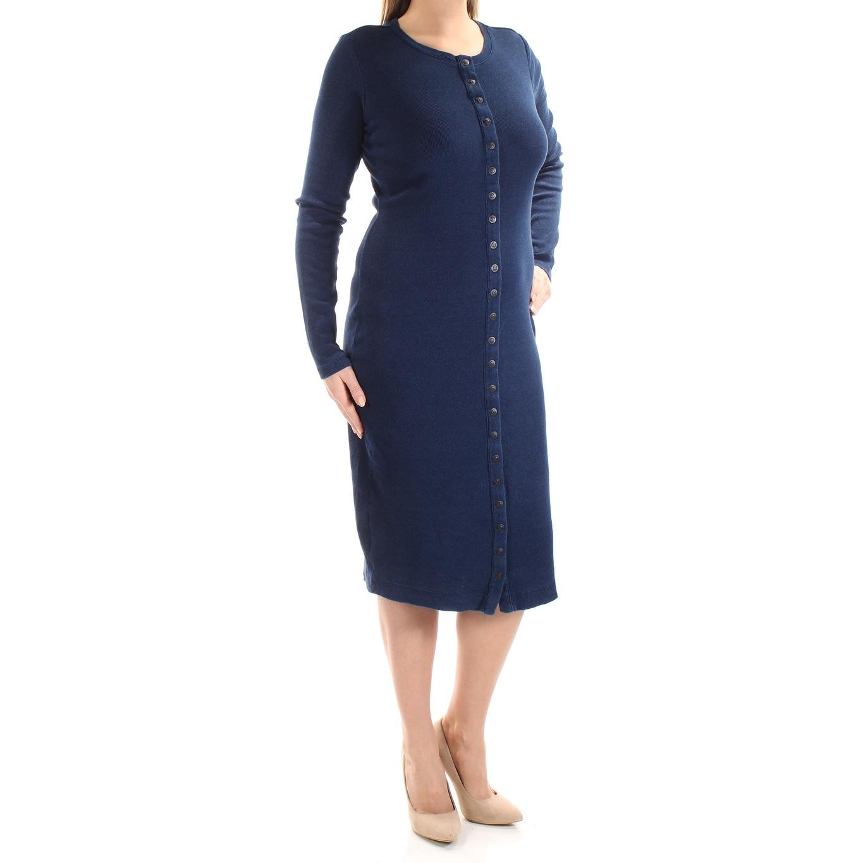 Shop Guess Womens Navy Long Sleeve Jewel Neck Below The Knee Shirt