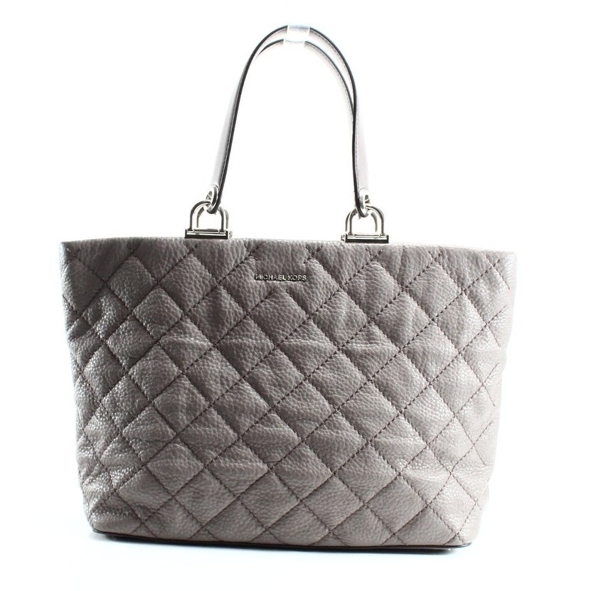 f7c623fb99b7 Shop Michael Kors NEW Gray Cinder Leather Quilted Loni Zip Tote Bag ...
