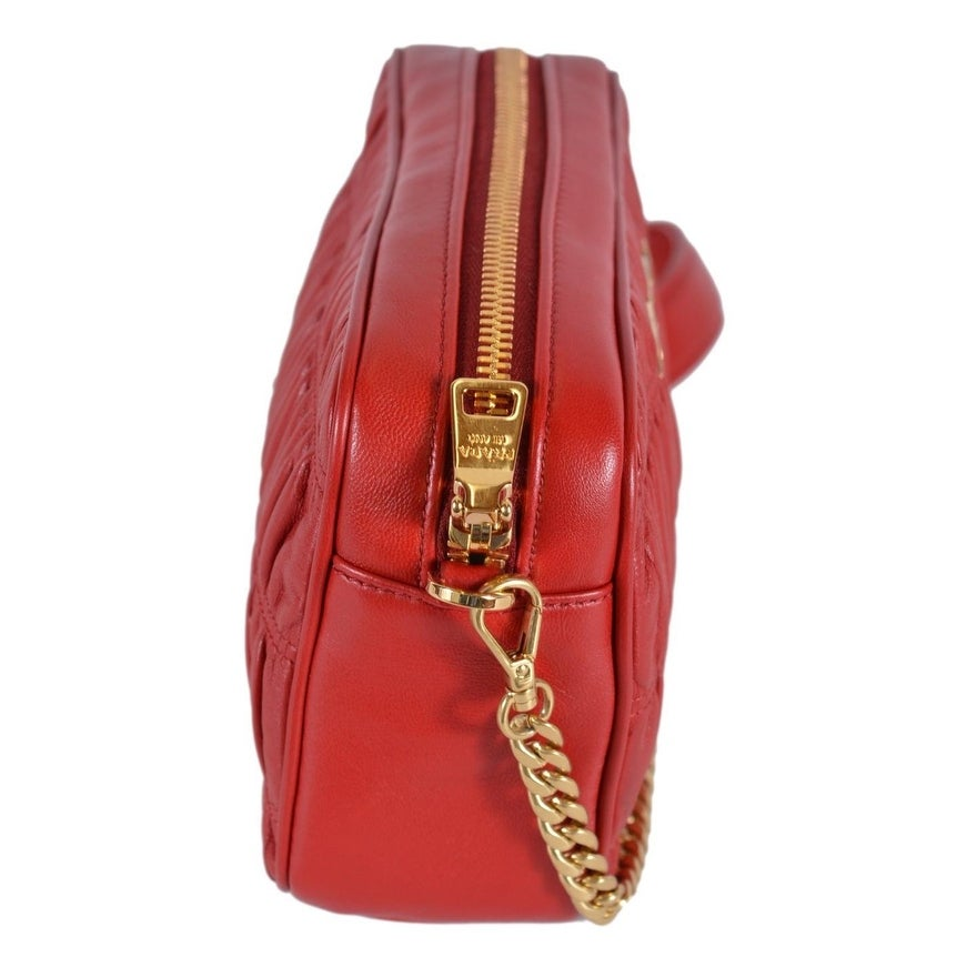 7d6366610d6af8 Shop Prada 1BH112 Fuoco Red Ruched Leather Small Crossbody Purse Handbag -  Free Shipping Today - Overstock - 26042931