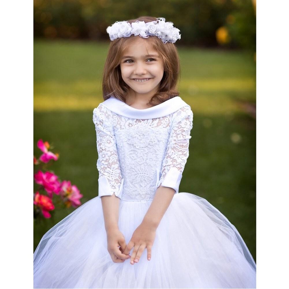 ab23cdd90b586 Shop Girls White Satin Collar Beaded Tulle Emma Flower Girl Ball Dress -  Free Shipping Today - Overstock - 19294477