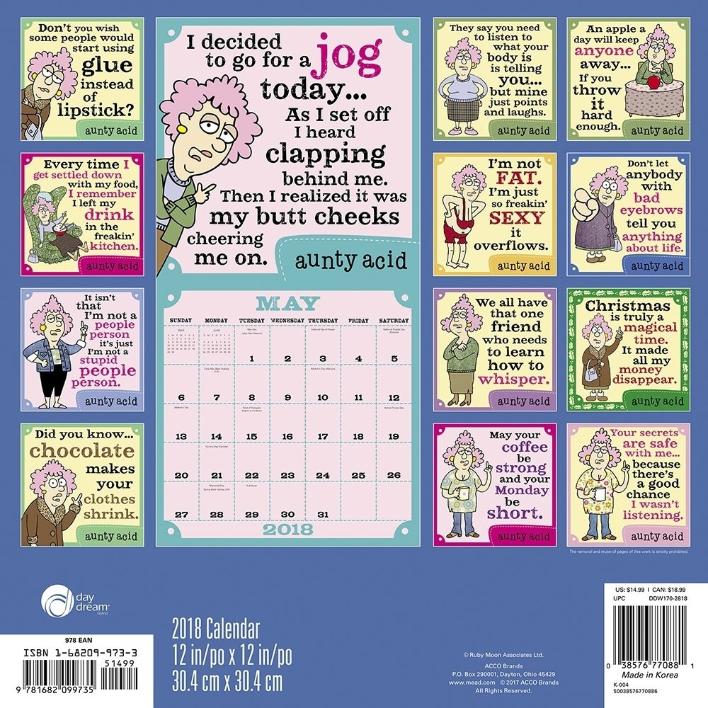 Aunty Acid Wall Calendar, Jokes & Insult by ACCO Brands