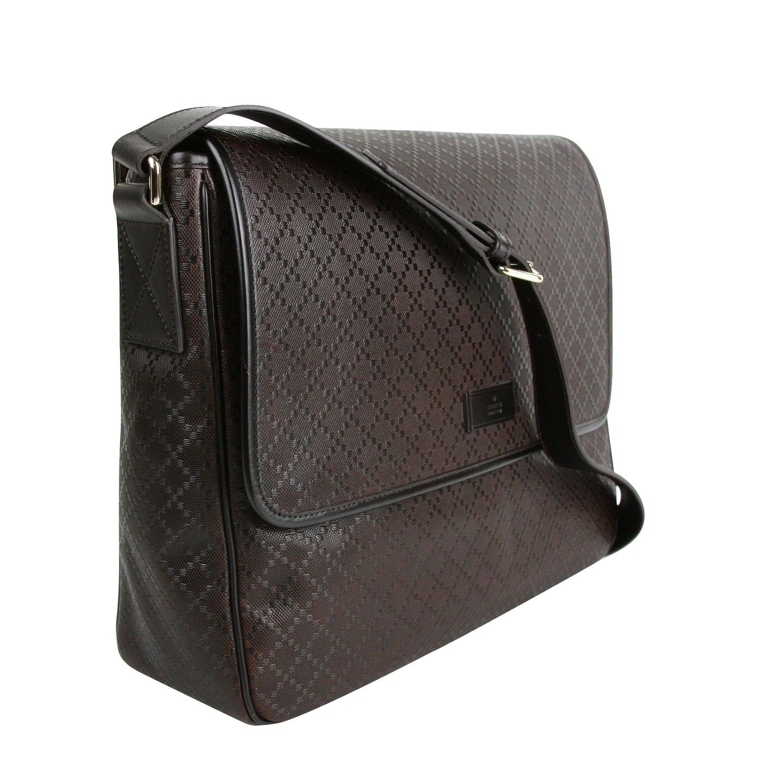 10591cc48 Shop Gucci Men's Hilary Lux Dark Brown Diamante Leather Messenger Bag  223665 2044 - One size - Free Shipping Today - Overstock - 27603112