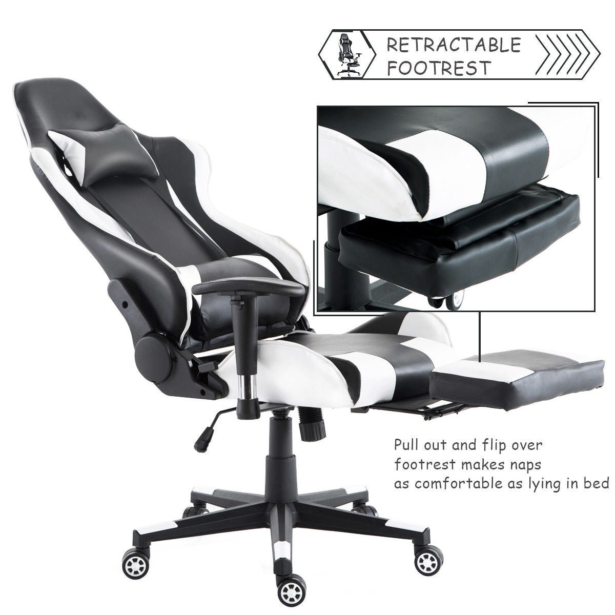 Costway Gaming Chair High Back Racing Recliner Office W Lumbar Support Footrest Free Shipping Today 18770733