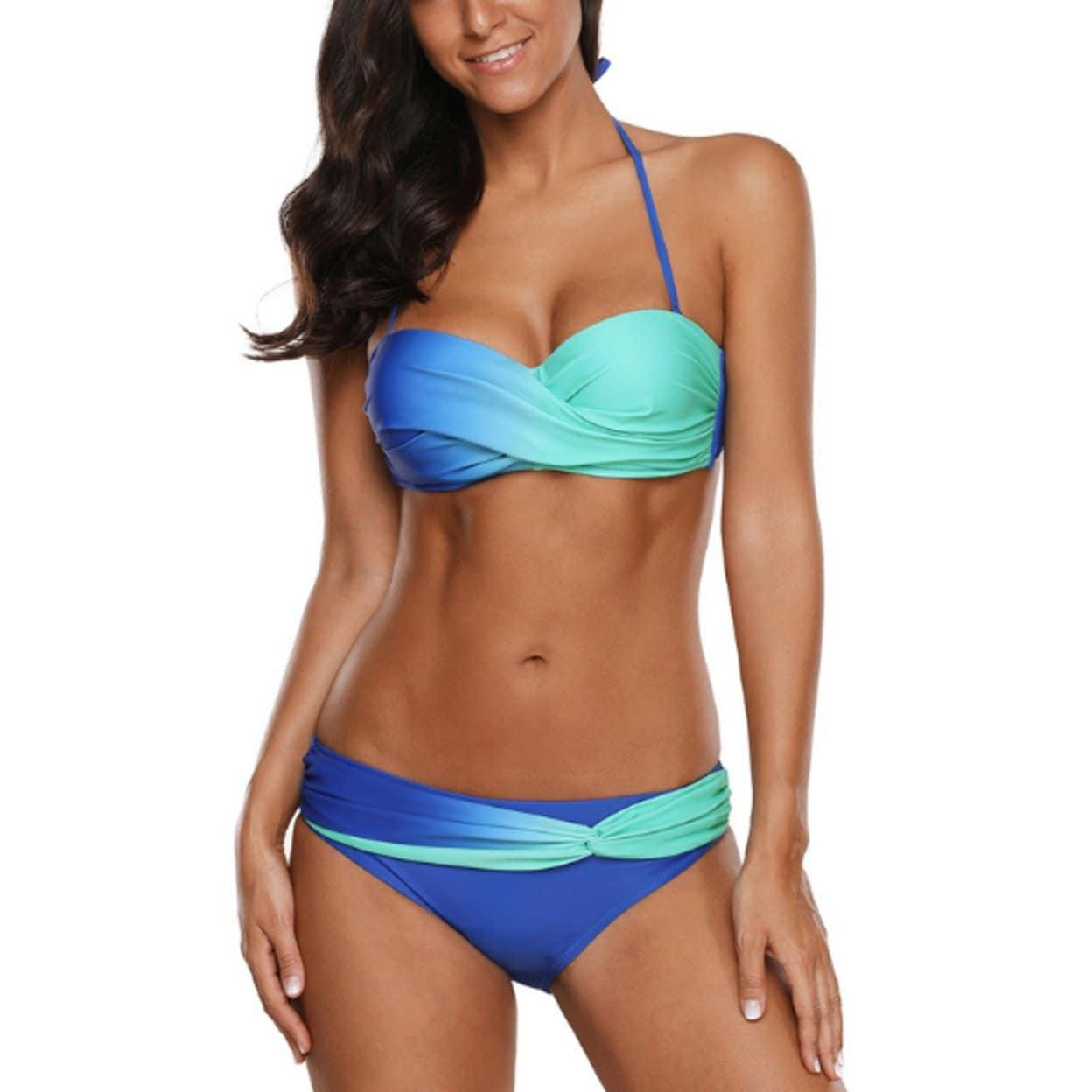 81cd72d7a58d3 Women Halter Bikini Sets Cross Padded Two Piece Swimsuit Wrap Bathing Suits