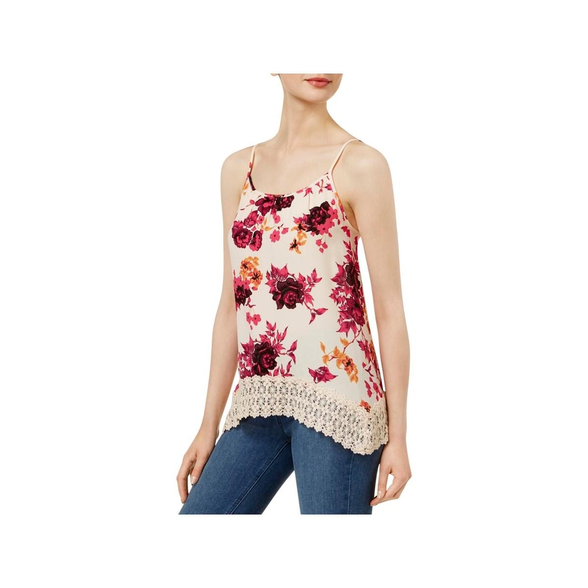 Shop Kensie Womens Camisole Top Floral Print Crochet Trim Free